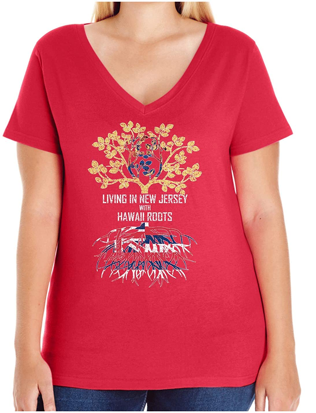 HARD EDGE DESIGN Women's Living in New Jersey with Hawaii Roots Plus Size V Neck T-Shirt, Size 3, Red