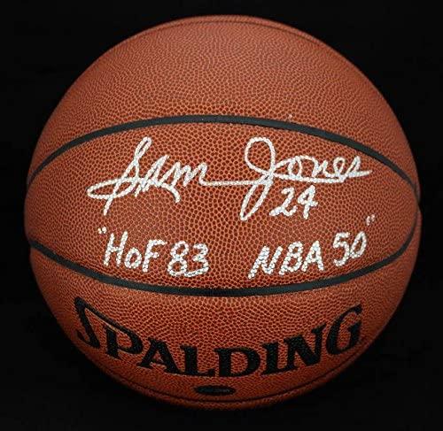 Sam Jones SIGNED I/O Basketball Boston Celtics HOF 83 NBA 50 PSA/DNA AUTOGRAPHED - Autographed Basketballs