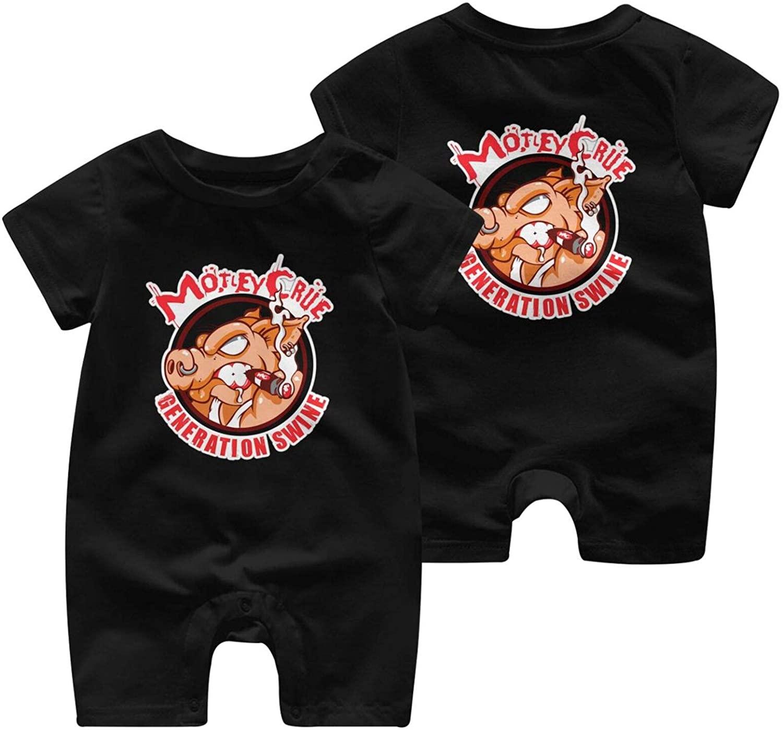 KkdsKkds Motley Crue Newborn & Baby Shortsleeve Bodysuits Cotton Jumpsuit Black