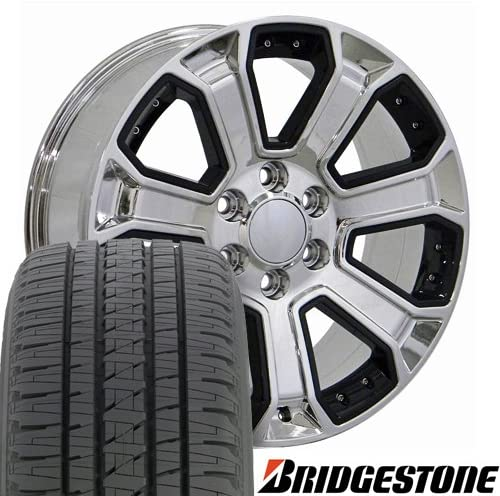 OE Wheels LLC 22 Inch Fits Chevy Silverado Tahoe GMC Sierra Yukon Cadillac Escalade CV93 Chrome 22x9 Rims Hollander 5661 Bridgestone Dueler Alenza HL Tires SET