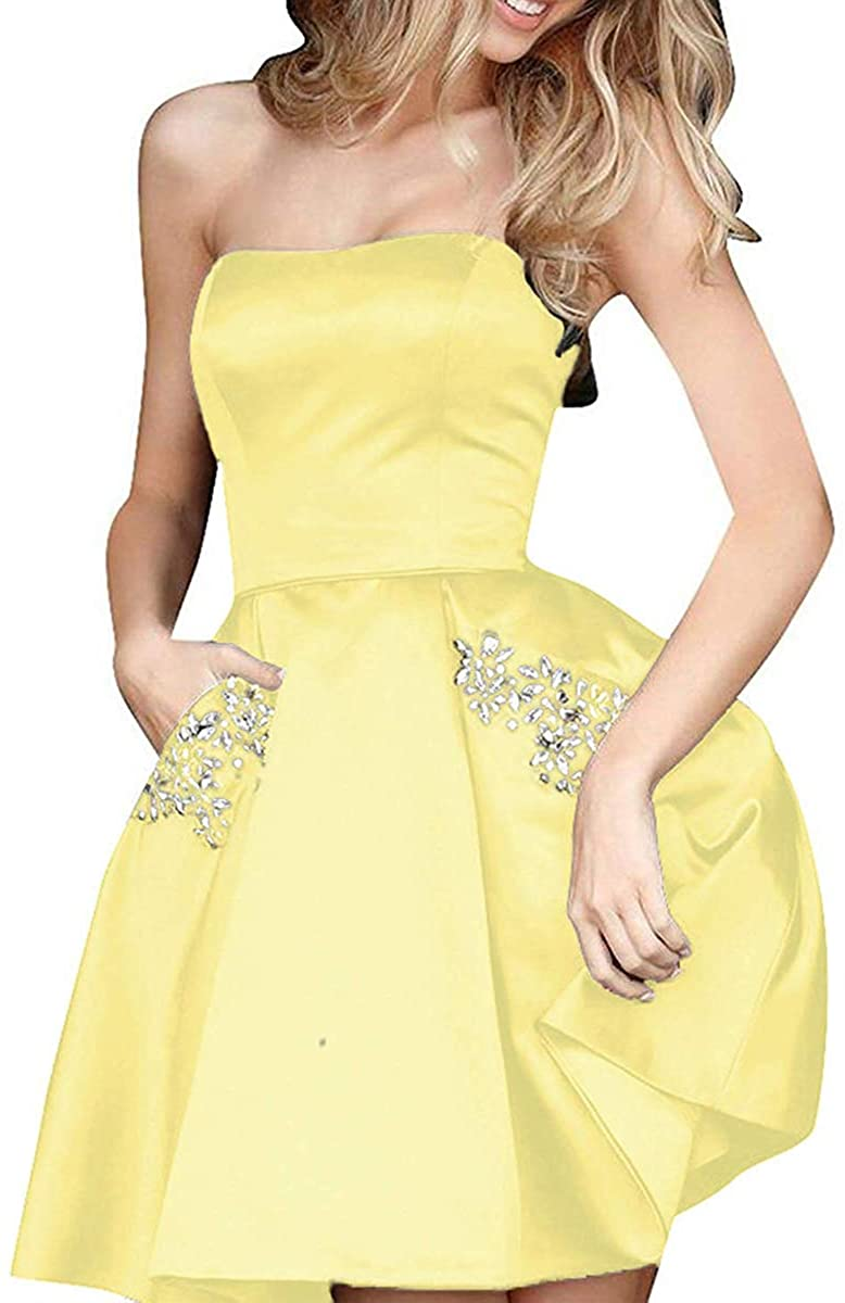 HDSLP Short Strapless Homecoming Dresses Satin Prom Cocktail Dress for Juniors with Pockets PD001