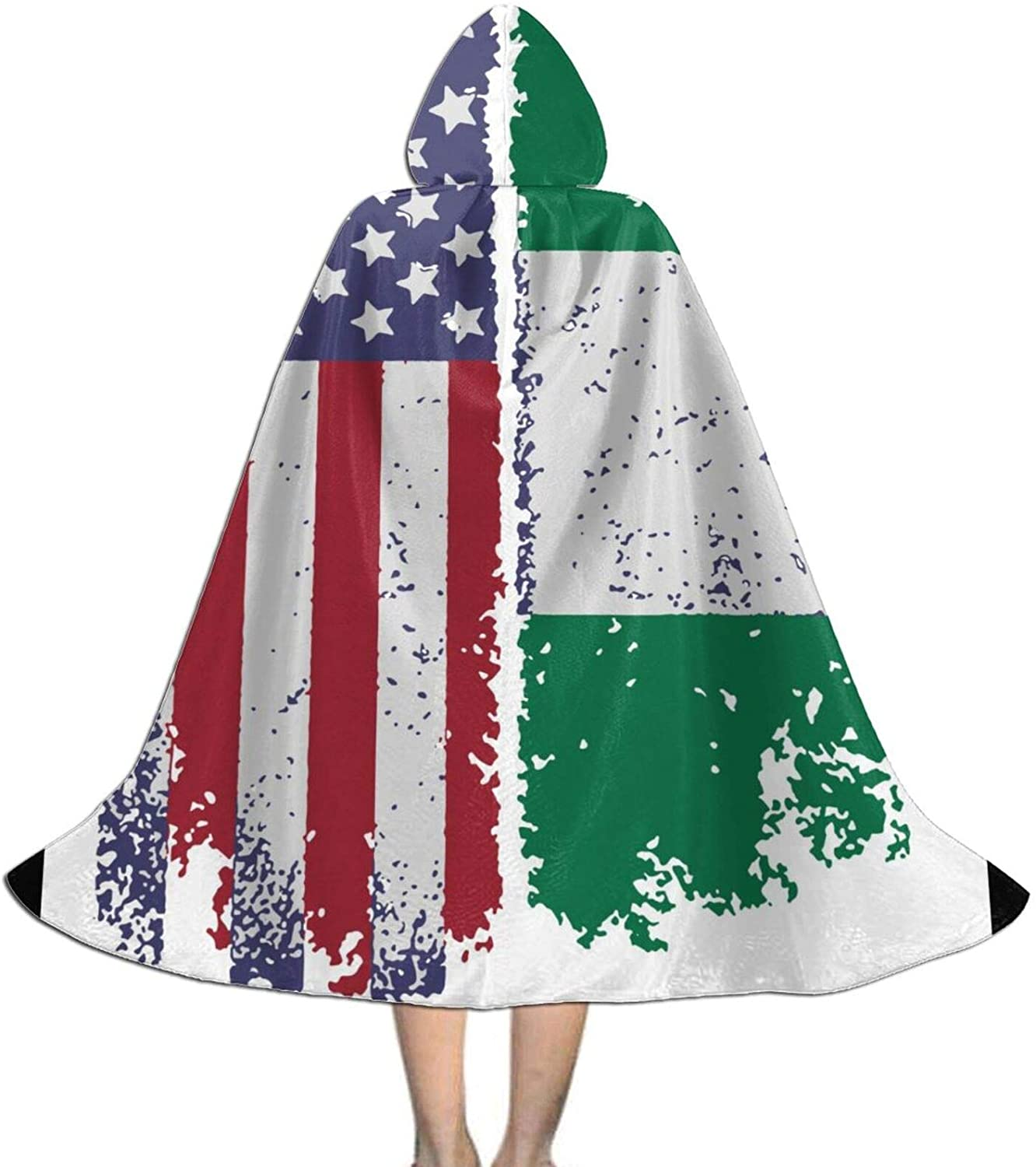 LNUO-1 Unisex Nigerian American Flag Kid's Long Hooded Cloak Cape for Halloween Party Role Cosplay Costumes