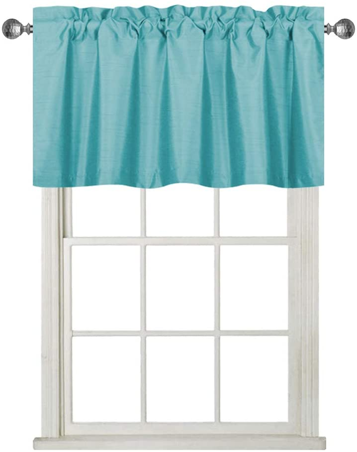 Rama Rose Faux Silk Blackout Curtain Valance with Rod Pocket for Basement Window, Short Straight Window Valence, Set of 1, 37 W X 18 L, Teal