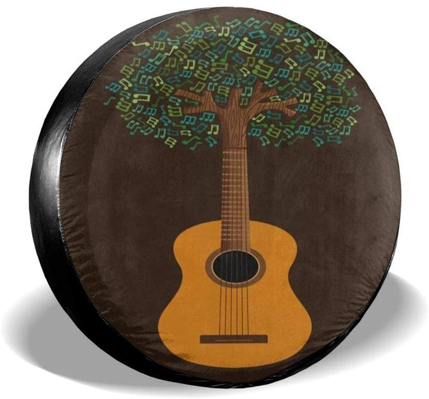N\ A Spare Tire Cover Guitar Tree with Musical Note Universal Car Rear Tire Covers RV Wheel Cover Tires Protectors for Camper, Trailer, SUV, Truck, Boat, Motorhome, Waterproof