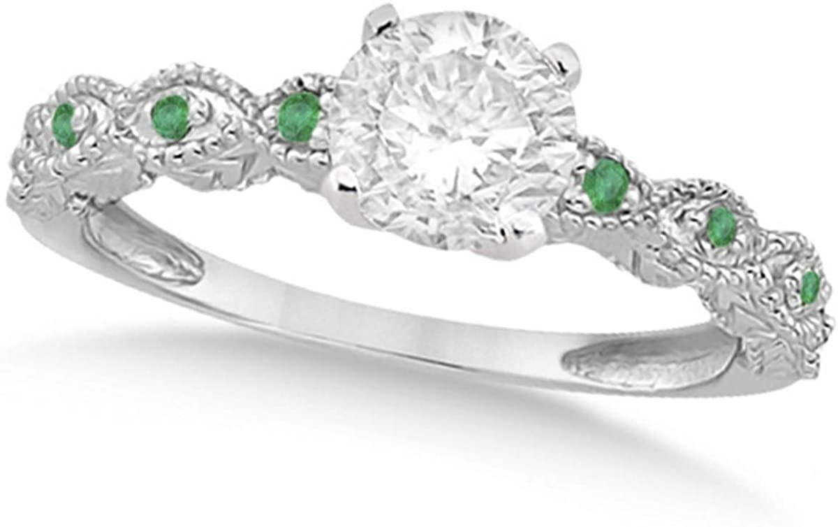 Ladies Vintage Diamond and Emerald Engagement Ring w/Marquise Style Shank 18k White Gold 1.00ct