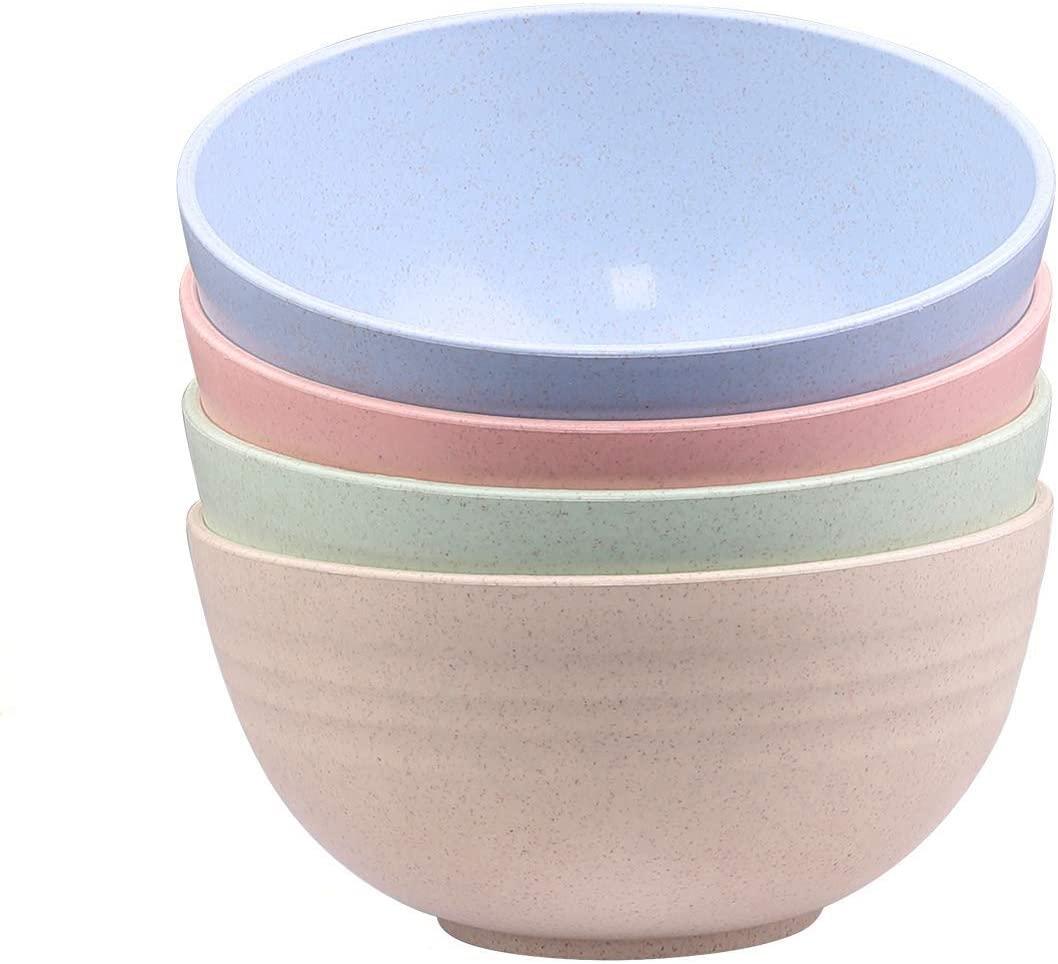 Unbreakable Cereal Salad Soup Bowls - Wheat Straw Bowls 24 OZ Lightweight Degradable Noodle Bowl sets-Eco-Friendly - 4 Pieces