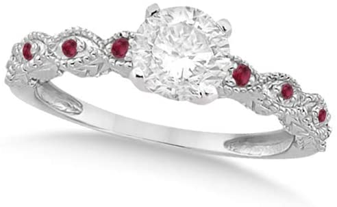 Ladies Vintage Lab Grown Diamond and Red Ruby Engagement Ring w/Marquise Style Shank 14k White Gold 1.00ct