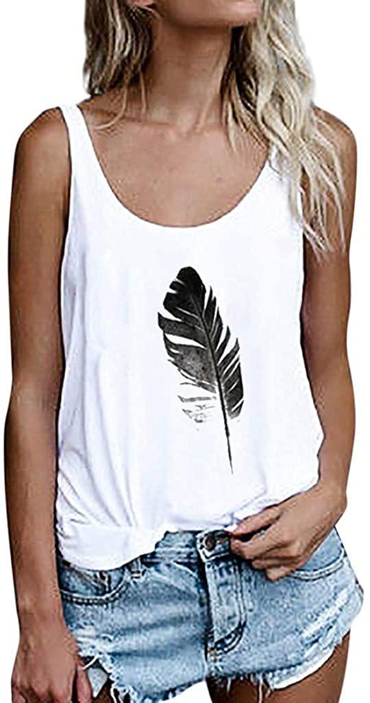 JSPOYOU Women Tank Tops Leaf Print Vest Sleeveless Loose Crop Blouse Tops T-Shirt