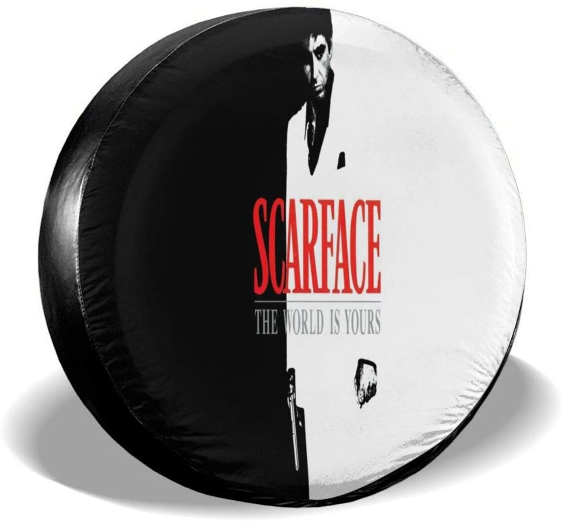 Gjfauehf Scarface Tire Cover Spare Tire Cover Portable Wheel Bags Compatible with Jeep,Trailer, Rv, SUV