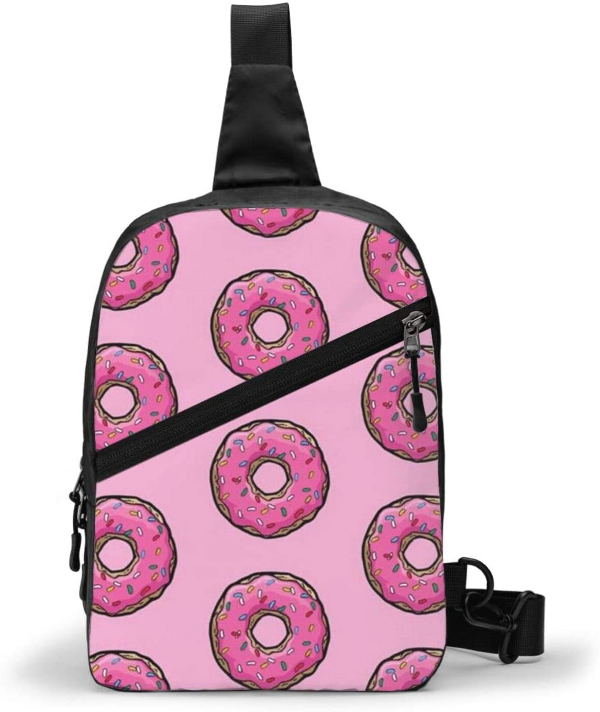 Neddelo Pink Donut Crossbody Bag,Portable Chest Bags,Folding Chest Bag, Men's and Women Sling Bag for Travel,Hiking, Cycling,Camping