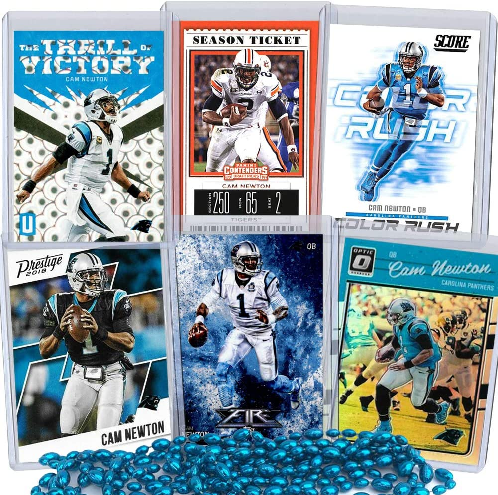 Cam Newton Football Card Bundle, Set of 6 Assorted New England Patriots Carolina Panthers Auburn Tigers Mint Football Cards Gift Set of MVP Quarterback Cam Newton, Protected by Sleeve and Toploader