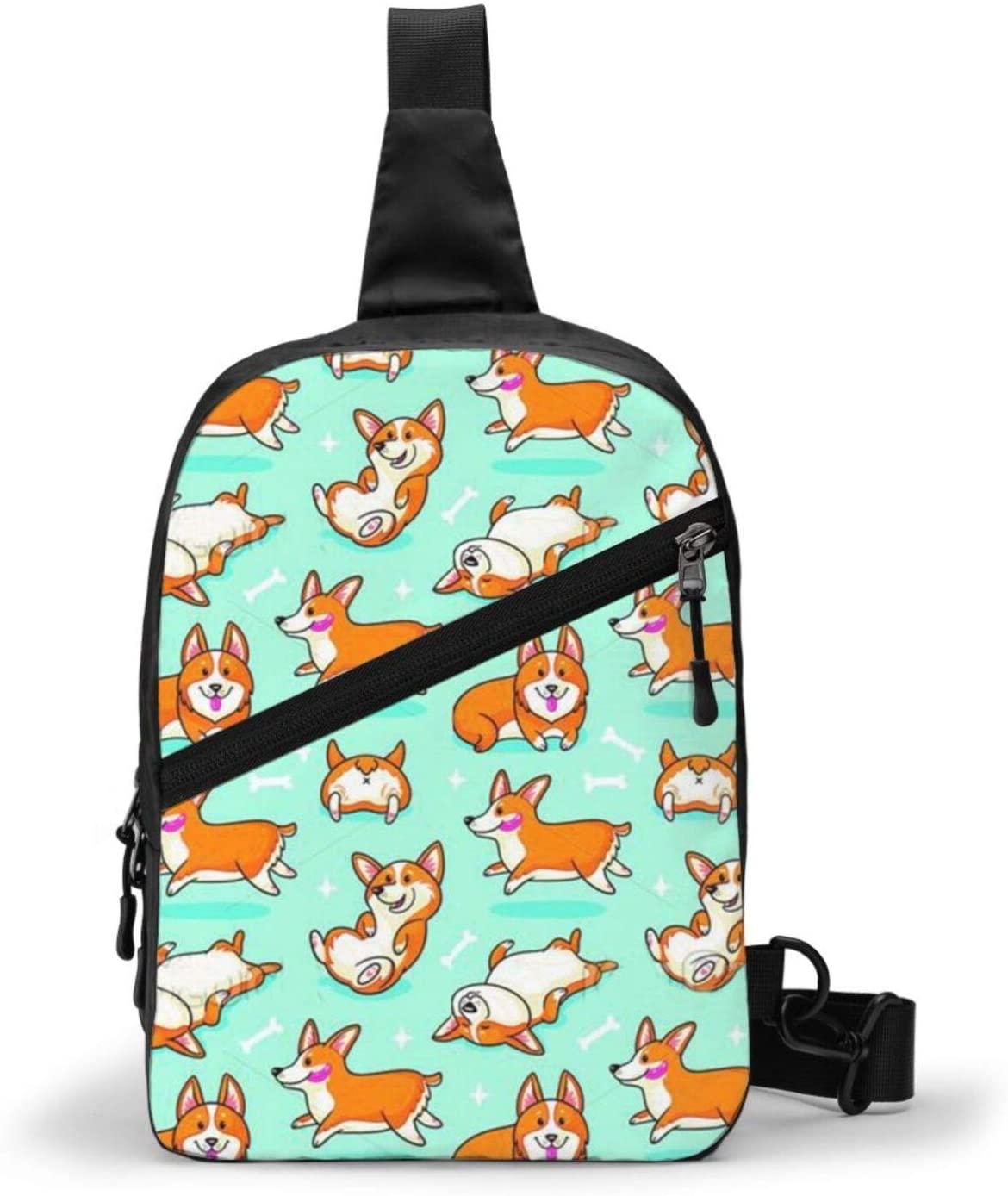 Neddelo Corgi Crossbody Bag,Portable Chest Bags,Folding Chest Bag, Men's and Women Sling Bag for Travel,Hiking, Cycling,Camping
