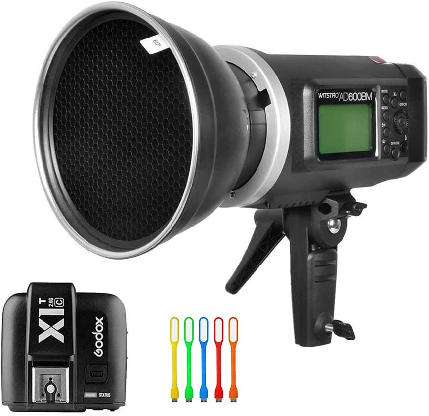 Godox AD600BM Bowens Mount 600Ws GN87 HSS Outdoor Flash Strobe Light Monolight with X1T-C Wireless Trigger Transmitter Compatible for Canon Camera & 7 Standard Reflector &60° Honeycomb Grid&USB Light