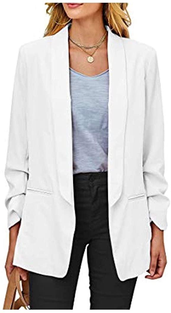 Godeyes Womens Candy Color Slim Fit Elegant Work Long Sleeve Small Blazer