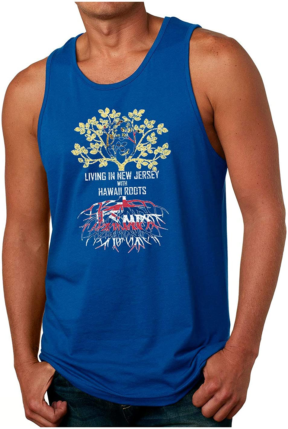 HARD EDGE DESIGN Men's Living in New Jersey with Hawaii Roots Tank Top