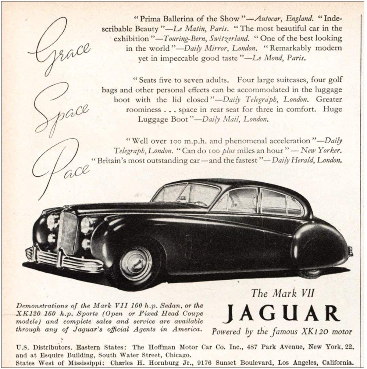 RelicPaper 1951 Mark VII Jaguar: Grace Space Pace, Jaguar Print Ad