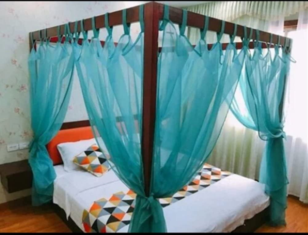 KQCNIFVNKLM Lace four corner mosquito net bed canopy,Chinese retro gauze hotel netting bedding mosquito net-E Queen1