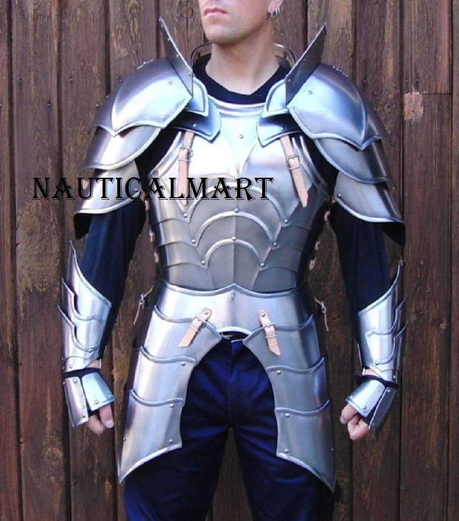 NauticalMart Medieval Knight Reenactment Steel Armour Breastplate with Arm Set