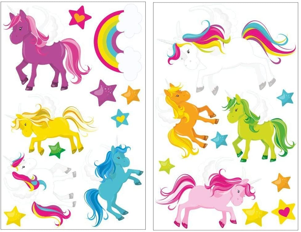 EricauBird Decal Sticker-21 Pieces Licornes Sticker Mural for Baby Room Baby Room, Multicolor, 2X 21x34cm Wall Art