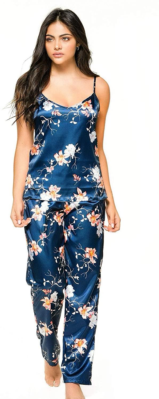 Lunachi Nightwear Printed Satin Fashion Pajama Pant Set