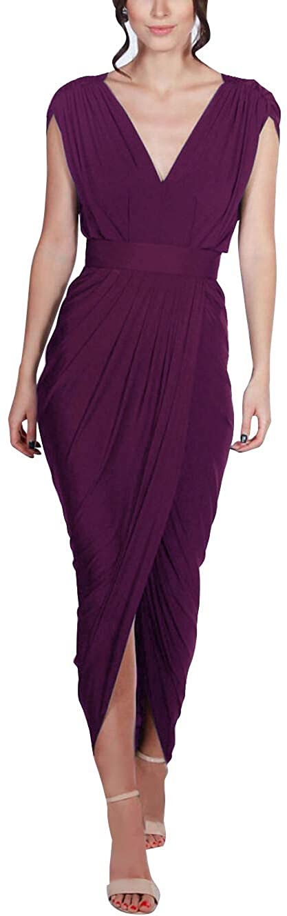 P PROMSTAR V-Neck Bridesmaid Dresses Sleeveless Slit - Pleated Backless for Women Formal Prom Gowns 2020 Grape