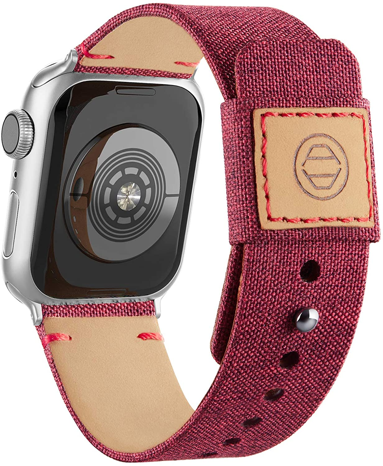 Adepoy Fabric Cloth Bands Compatible with Apple Watch 44mm 42mm 40mm 38mm, Canvas Strap with Soft Genuine Leather Lining and Snap Button for Apple iwatch Series 6/5/4/3/2/1 SE,Wine 42/44mm