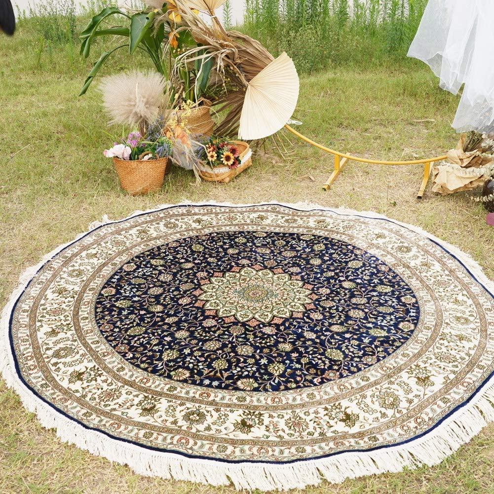 Camel Carpet 6x6ft Round Silk Handmade Persian Tabriz Carpet Soft Hand Knotted Oriental Floral Carpet for Living Room Bedroom Dinning Room (Navy Blue &Ivory)