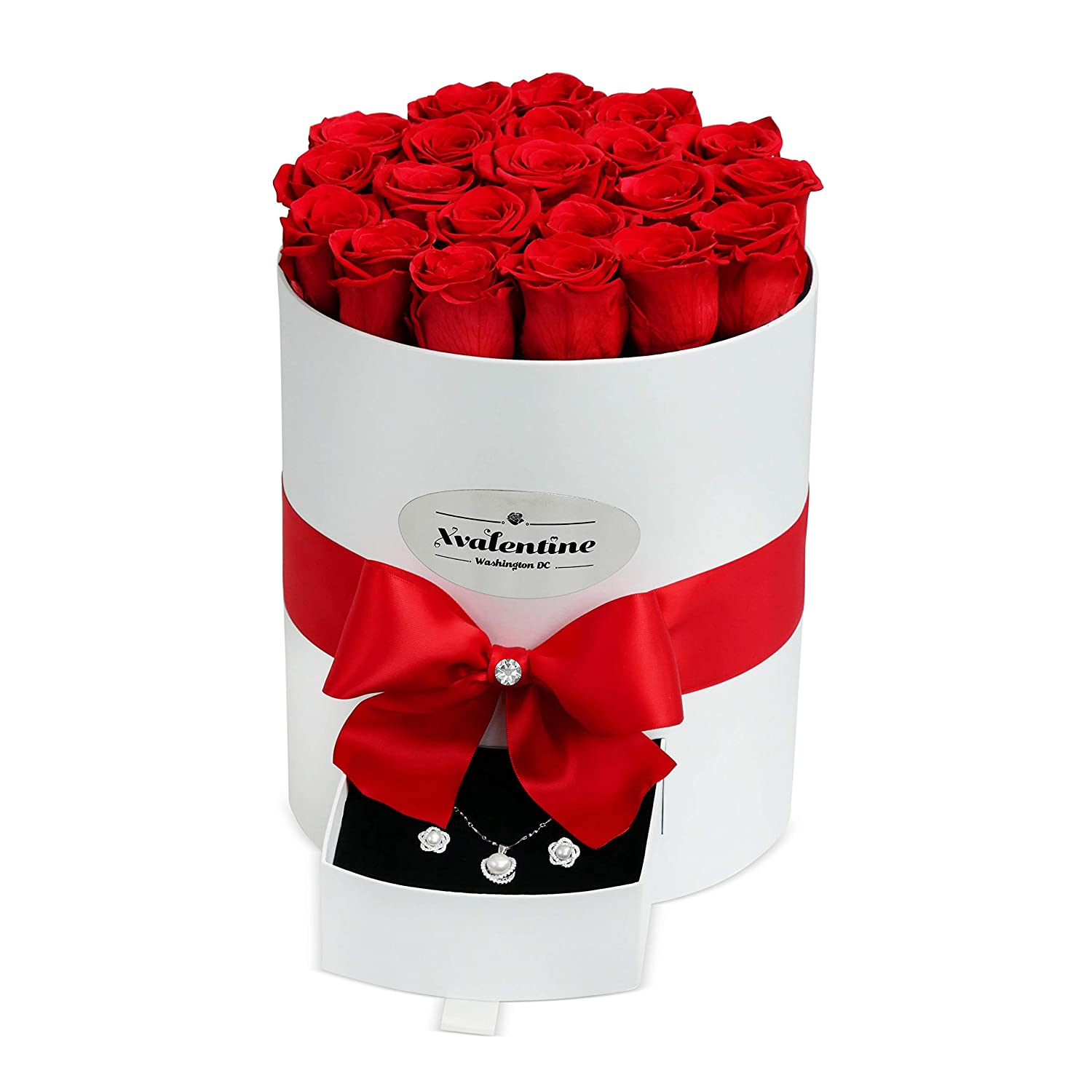 XValentine Grande White Box & Red Forever Roses | Real Roses That Last A Year| Eternal Roses | Preserved Roses That Last Forever | Handmade Rose Box | Eternity Roses for Any Occasion