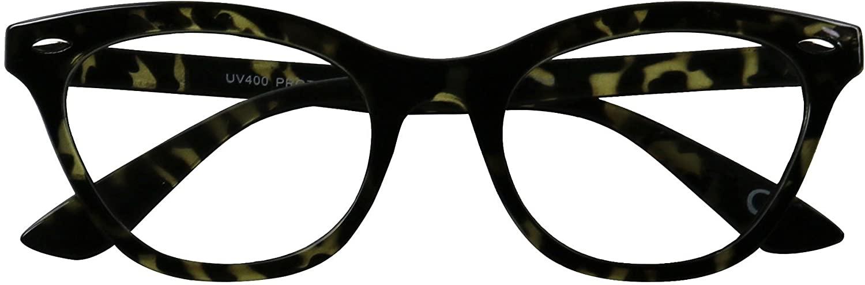 ShadyVEU Trendy Squared Off Cateye Eyeglasses Sleek Non Prescription Clear Lens Nerdy Geeky Horn Rimmed Fashion Sun Glasses