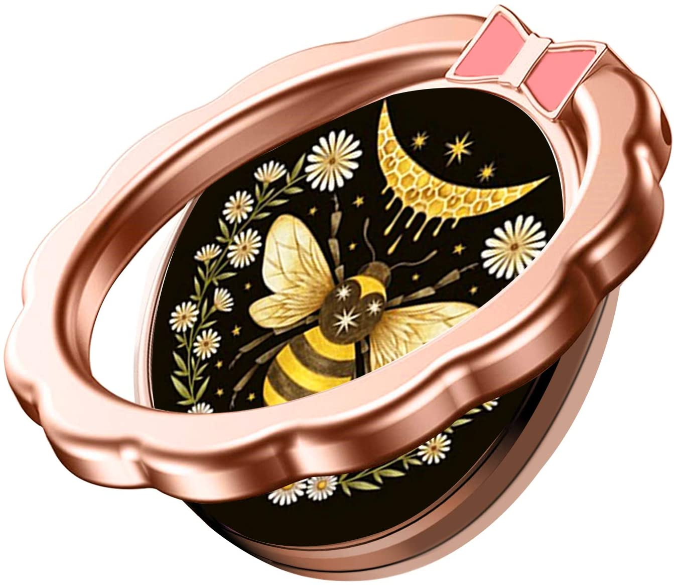 Phone Ring Holder Stand, Bee Pattern Flower Finger Kickstand 360 Degree Rotation Metal Cell Phone Ring Grip for All Smart Phone - Rose Gold.