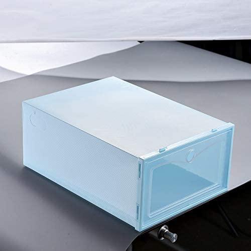 ZRSJ Waterproof Flip Shoe Box, Thickened Transparent Drawer Box, Stackable Box Shoe Storage Box Shoe Box Storage Shoe Rack for Home Storage (Color : Blue, Size : S)