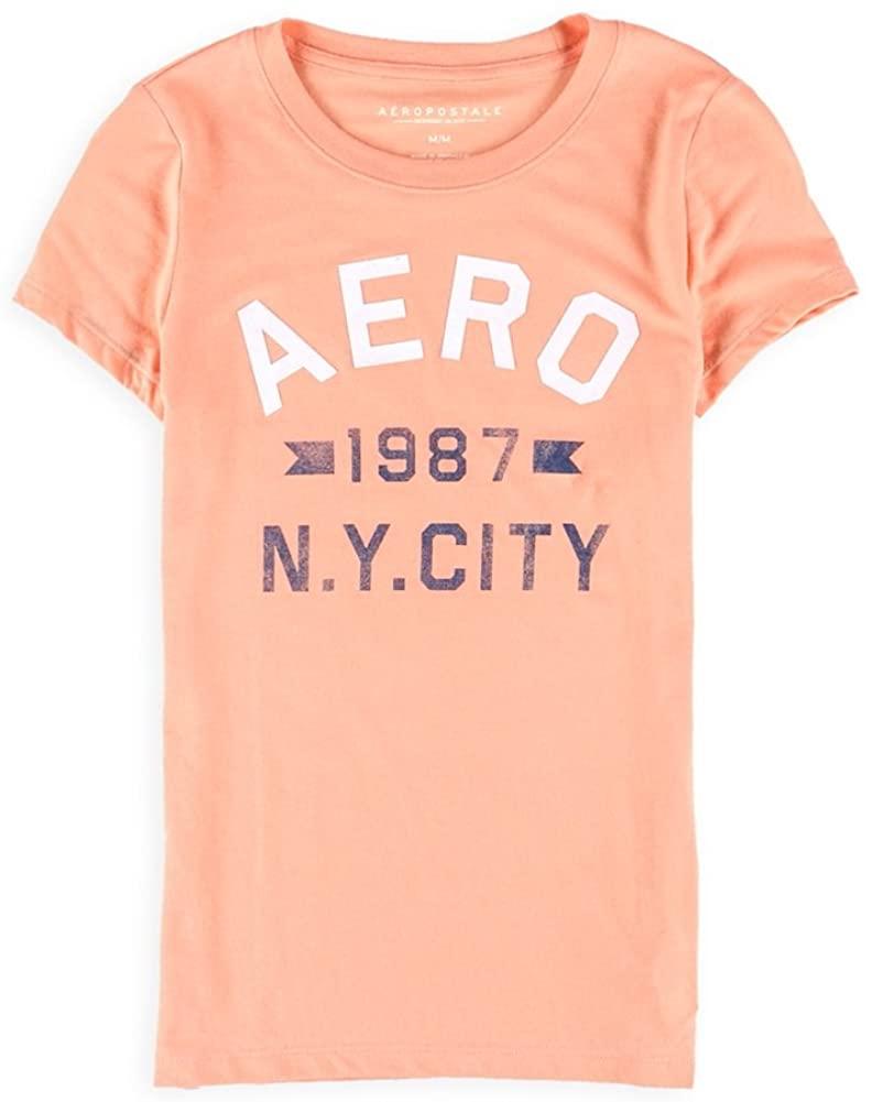 AEROPOSTALE Womens 1987 NY City Graphic T-Shirt, Orange, X-Small