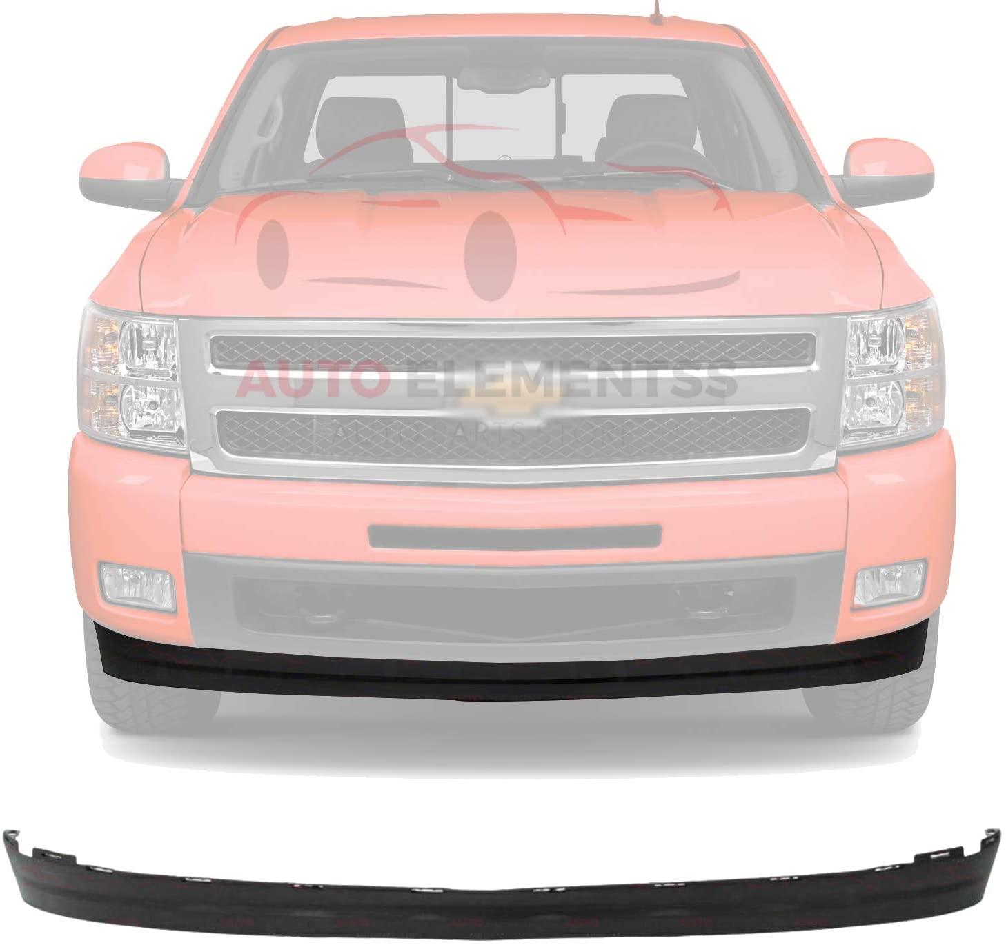 New Front Lower Valance Deflector Extension Textured Plastic For 2007-2013 Chevrolet Silverado 1500 Direct Replacement 25821880