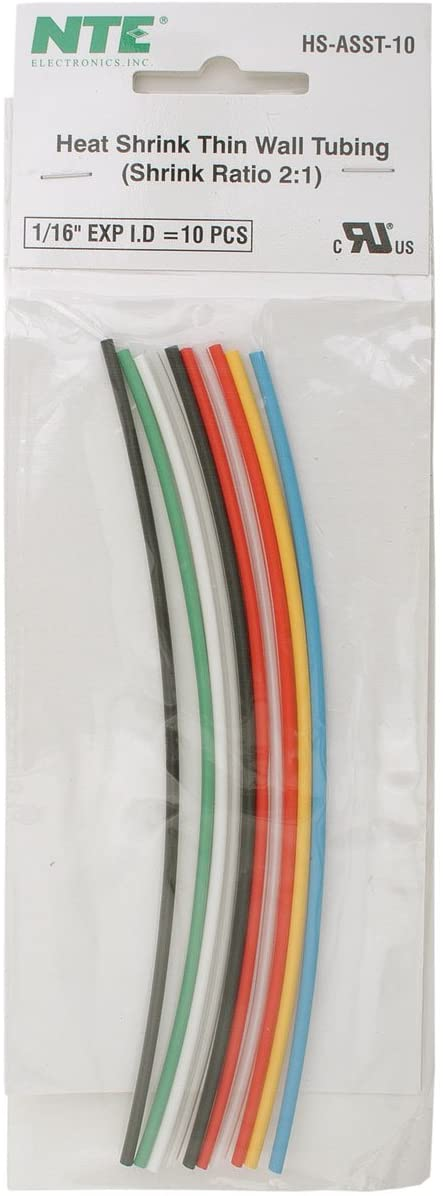 NTE Electronics 10 Pieces, Thin Wall Heat Shrink Tubing Kit, Assorted Colors, 6Inch Length, 1/16Inch Dia