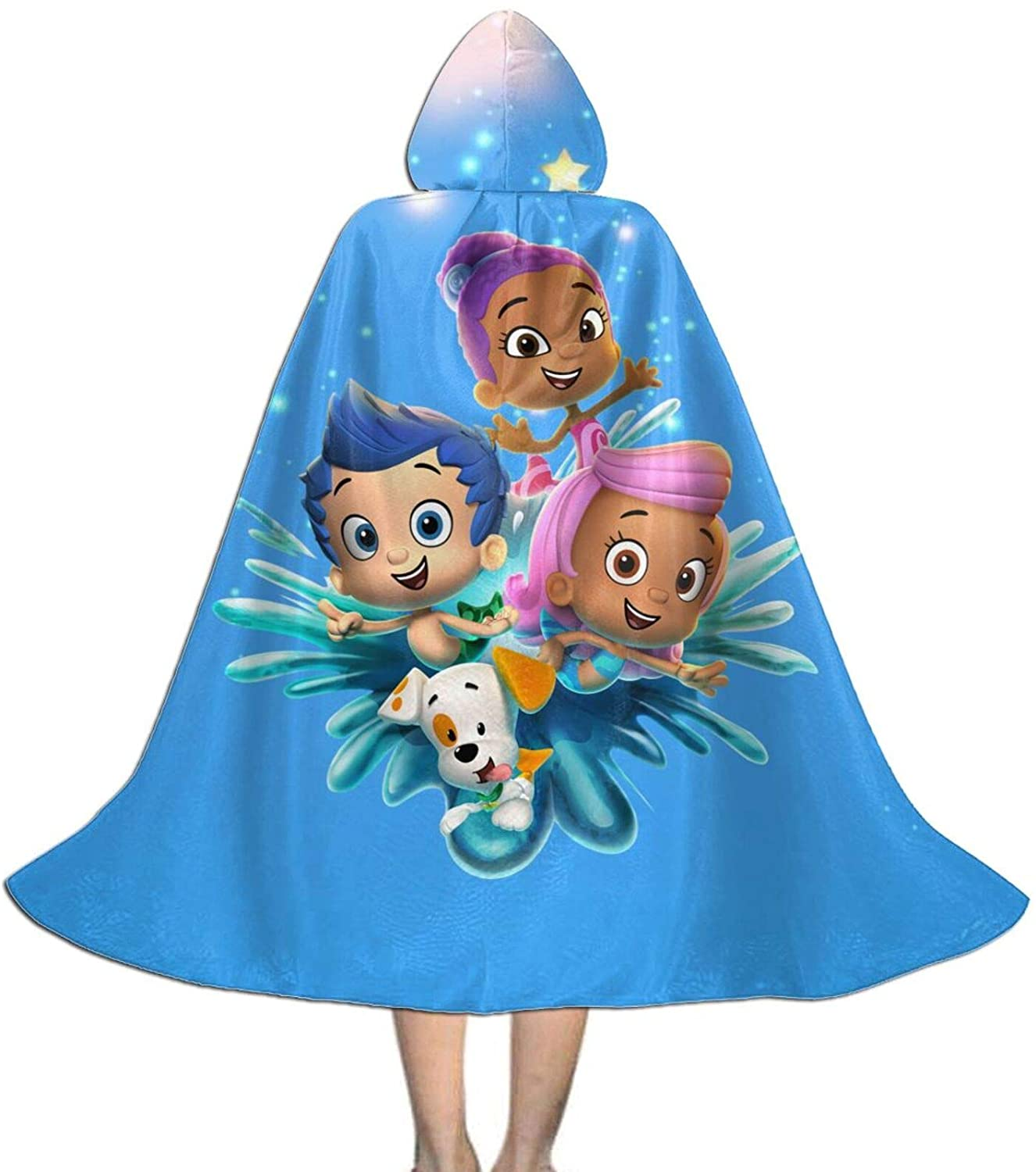Bubble Guppies Kids Hooded Cloak Cape for Christmas Halloween Cosplay Costumes Ages 3 To16