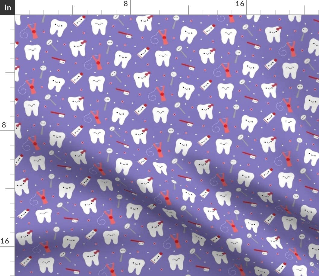 Spoonflower Fabric - Happy Teeth Purple Tooth Dental Dentist Dentistry Toothpaste Floss Printed on Linen Cotton Canvas Fabric by The Yard - Sewing Home Decor Table Linens Apparel Bags