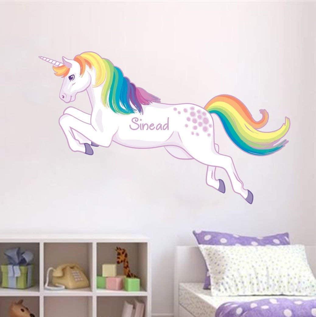 EricauBird Decal Sticker-60x97cm Personalized Rainbow Unicorn Mane Wall Sticker Decal Girls Room Nursery Fantasy Wall Art