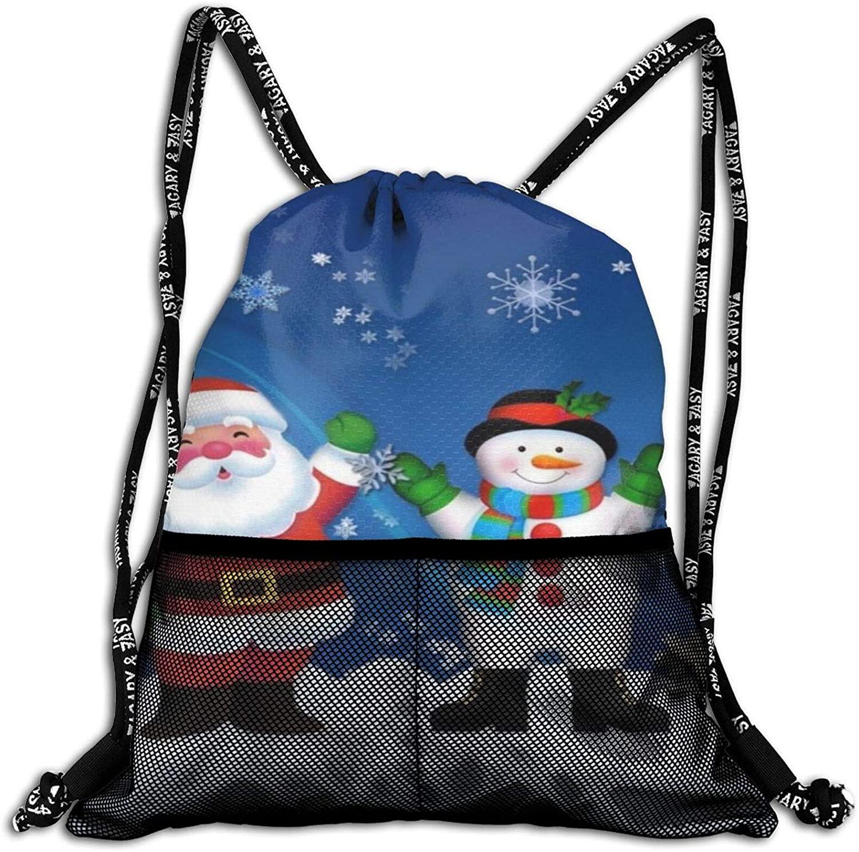 Neddelo Christmas Santa Snowman Drawstring Backpack String Bag Sackpack, Sport Gym Sackpack with Mesh Pockets, Makeup Bag for Party Gym Sport Trip