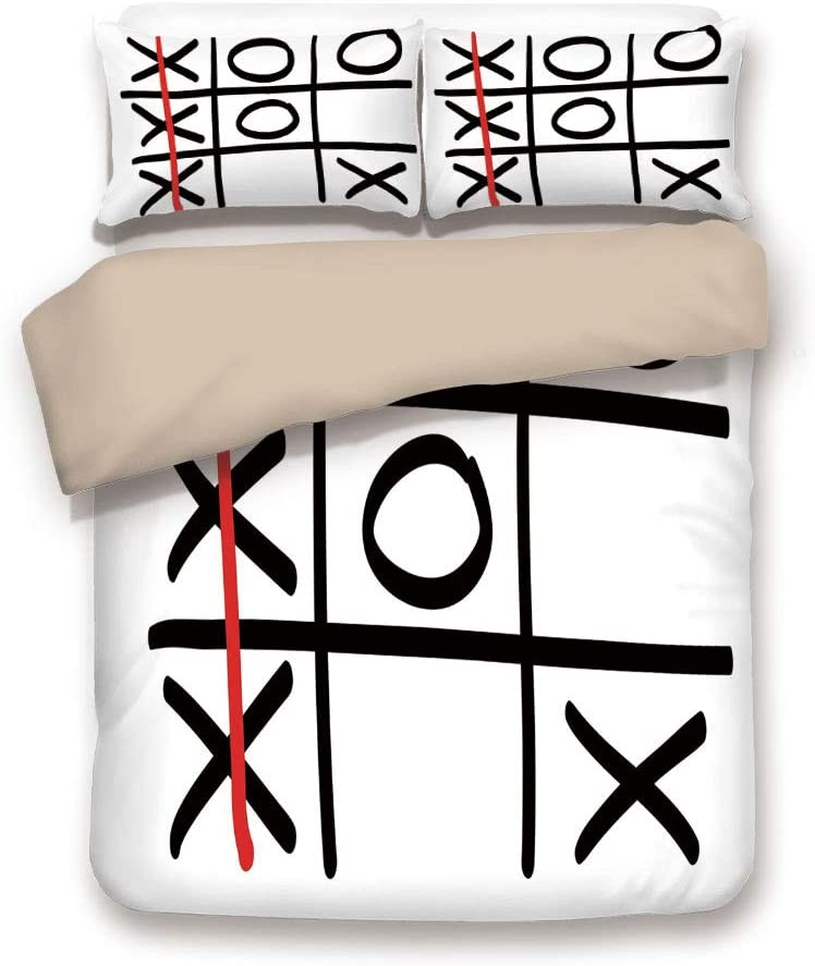 Khaki 6pc Bedding Set,Popular Tic Tac Toe Game Pattern Hand Drawn Design Win Victory Finish Theme Decorative King Duvet Cover Set,Printed Comforter Cover With 2 Pillowcases for Teens Boys Girls & Adul