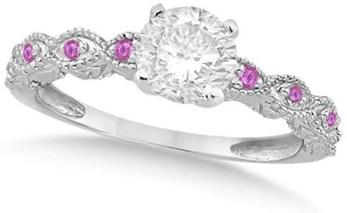 Ladies Vintage Lab Grown Diamond and Pink Sapphire Engagement Ring w/Marquise Style Shank 14k White Gold 0.75ct