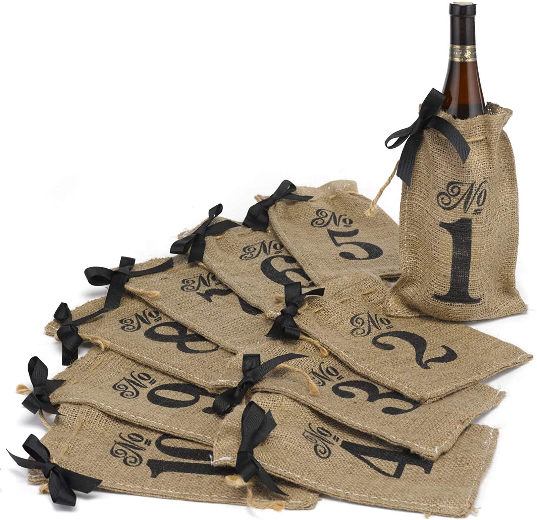 50pk Burlap Table Number Wine Bags (1-10)-Reception Decorations