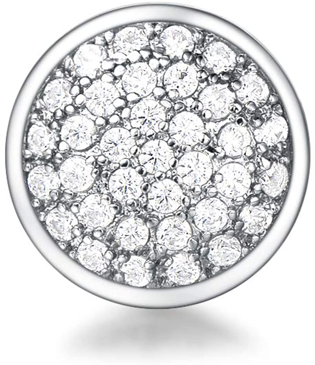 Quiges Women Mesh Bracelet Charm Round Cubic Zirconia Gemstones Clip made of 925 Sterling Silver