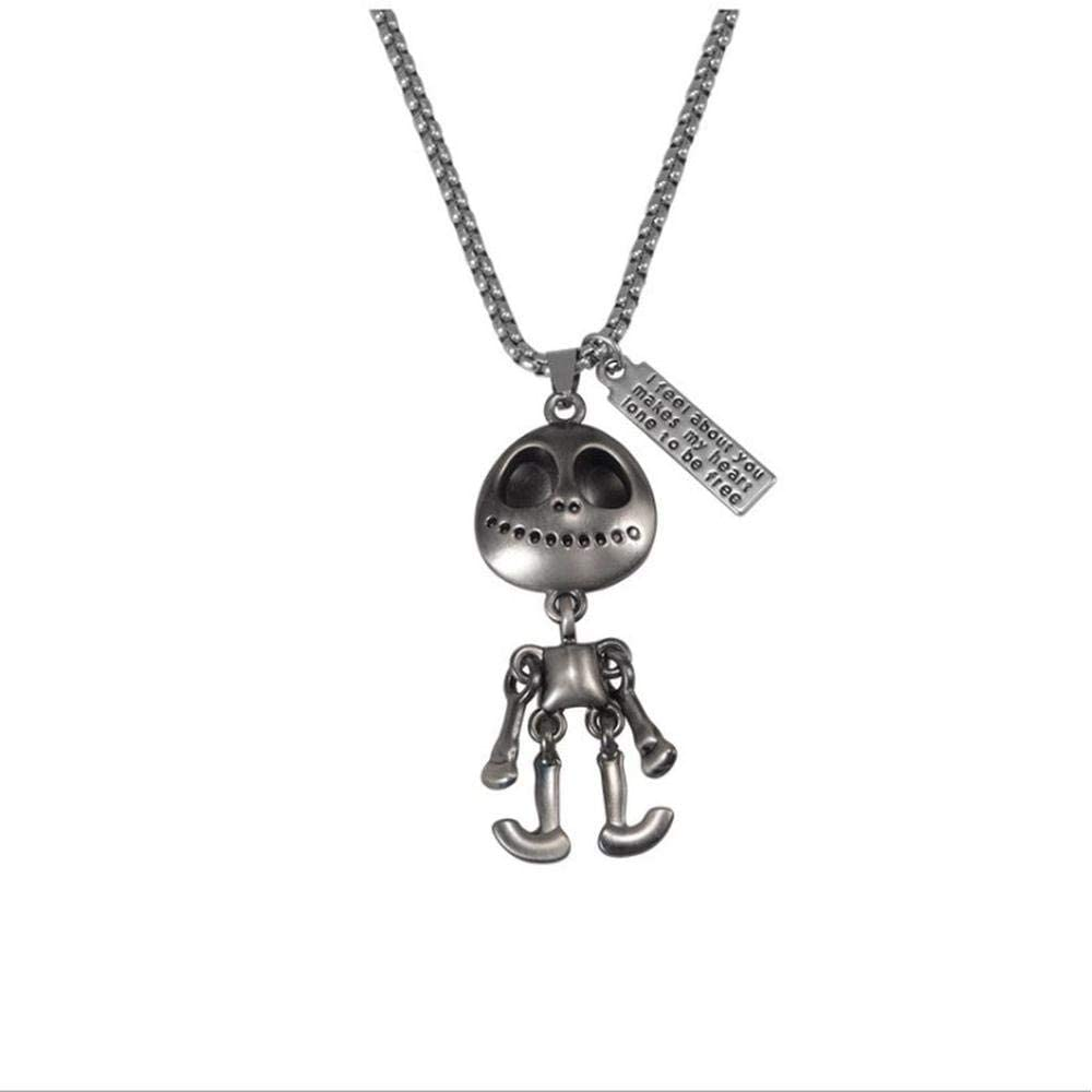 Stainless Steel Joint Movable Alien Necklace, Hip-hop Couple Long Sweater Accessories