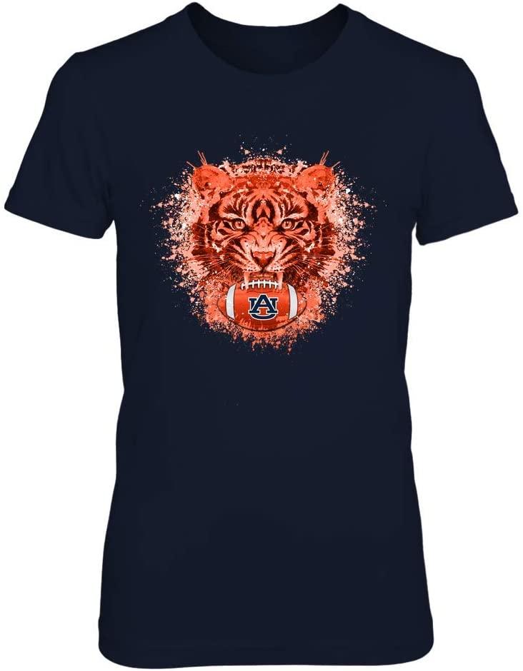 FanPrint Auburn Tigers T-Shirt - Color Drop Tiger Football - If78-Ic78-Ds27 - Premium Women's Tee/Navy / 2XL