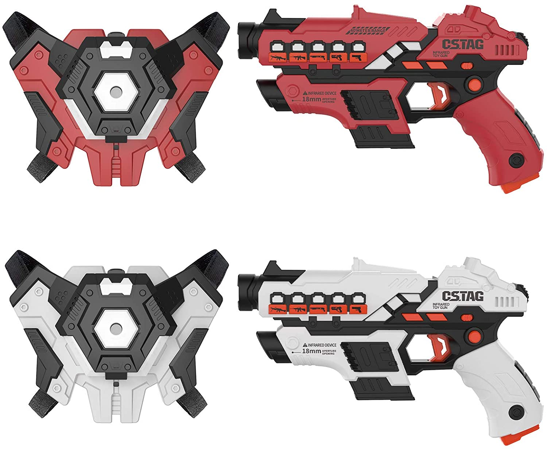 NXONE Laser Tag, Laser Tag Sets with Gun & Vest Set of 2, Infrared Laser Tag for Kids, Laser Tag Game Set with Vivid Smoke Effect, Multi Player Home Backyard Game, Gift for Kids Boys & Girls