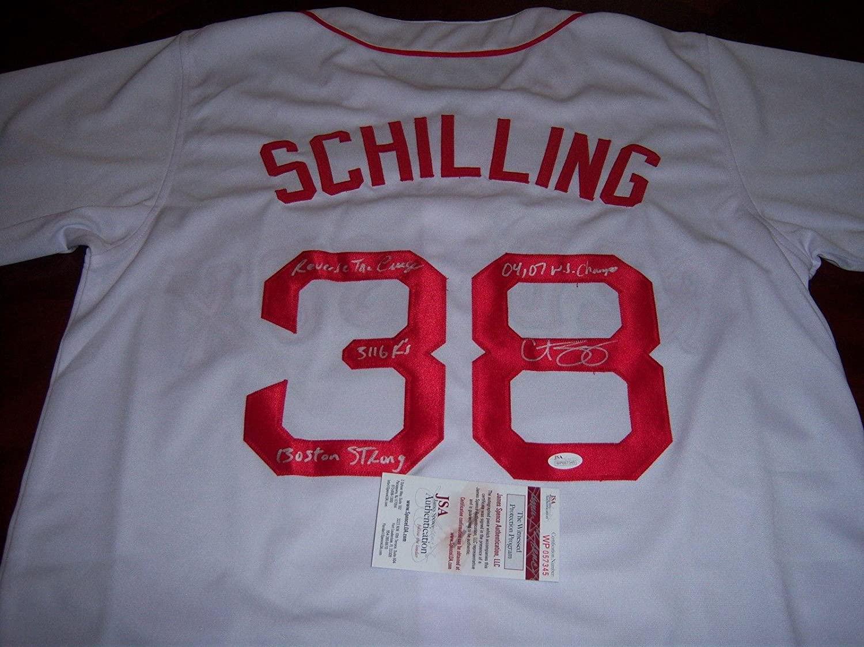 Curt Schilling Boston Redsox 04&07 Ws Champs,boston Strong Jsa/coa Signed Jersey - Autographed MLB Jerseys