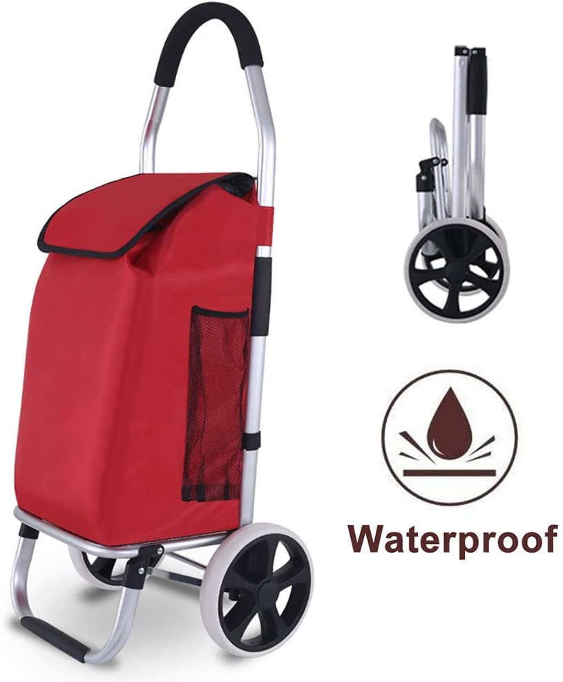 AFDK Shopping Trolley,Waterproof Folding Shopping Trolley on Wheels with Detachable Bag and Foldable Design, Lightweight and Portable, Max Capacity 40 Kg,Push/Pull,Black,Black,Red
