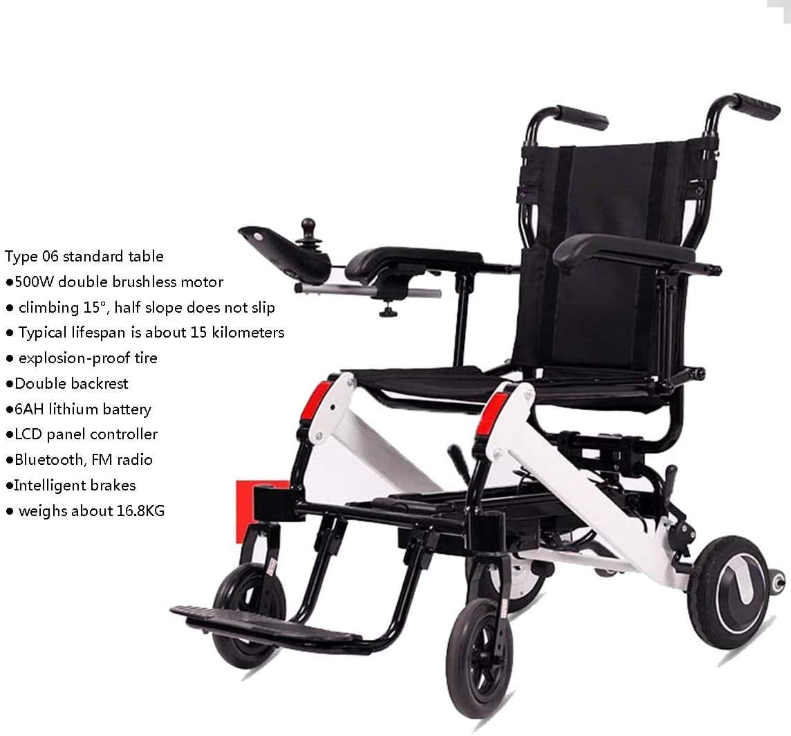 KFDQ Wheelchair,Electric Wheelchair Elderly Disabled Car Elderly Intelligent Automatic Portable Scooter Multifunctional Folding,2