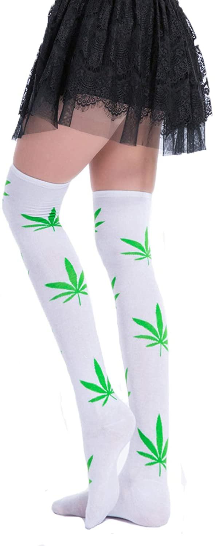 Girls Women Long Fun Silly Over Knee High Socks Marijuana Leaf Costume Stockings