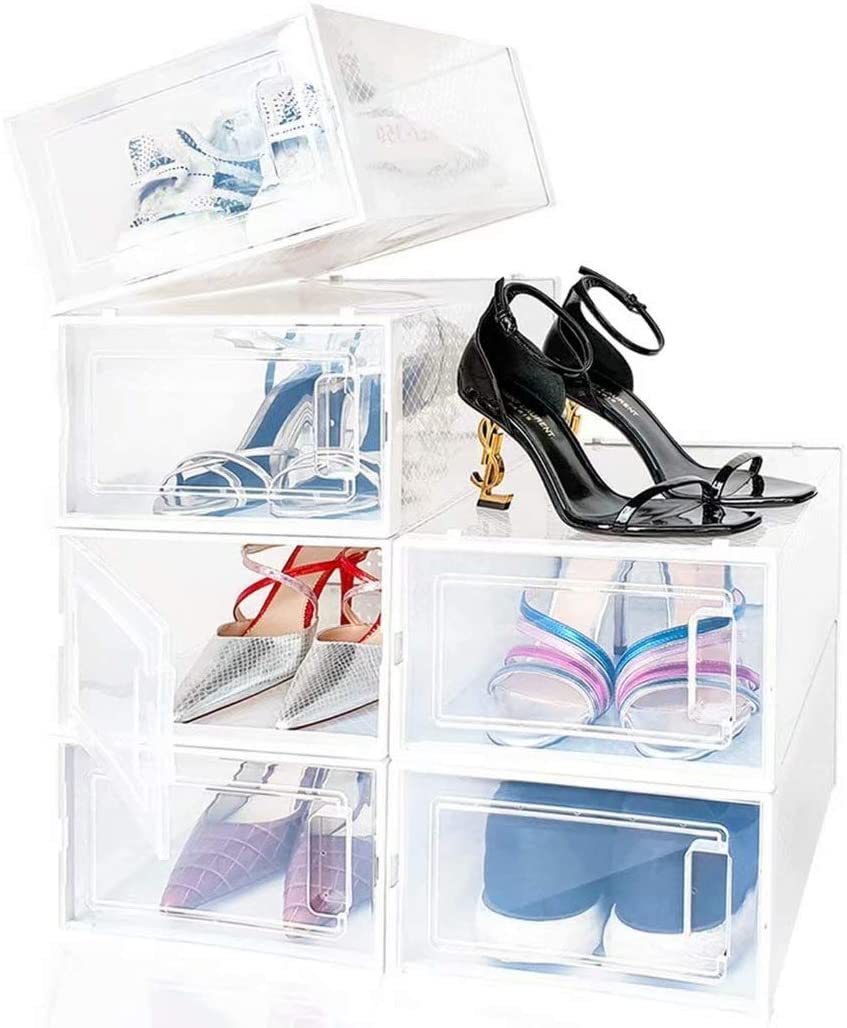 JoJocom Shoe Cabinets, Shoe Boxes, Stackable Shoe Rack Storage Organizers, Foldable and Versatile for Sneakers, Fit up to US Size 8.5, Transparent and White